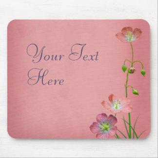 Pink Wildflower on Burgundy Mouse Pad