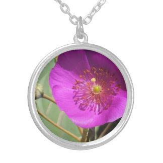Pink wildflower round pendant necklace