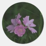 Pink Wildflowers amongst the grass Round Sticker