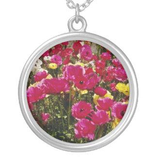 Pink Wildflowers in bloom flowers Custom Necklace