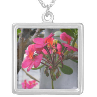 Pink Wildflowers Square Pendant Necklace