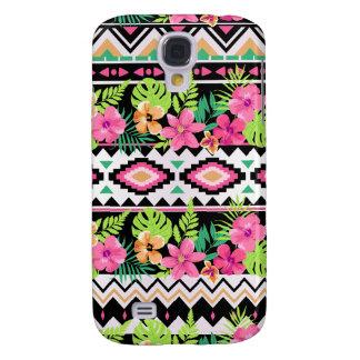 Pink Wildflowers Tribal Pattern Galaxy S4 Case