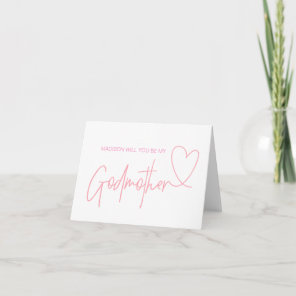 Pink Will You Be My Godmother Proposal Gift Card