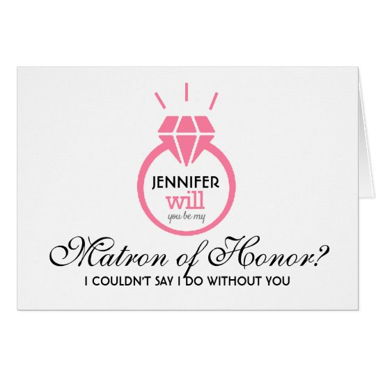Pink Will You Be My Matron of Honour