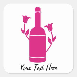 Pink Wine Bottle (Customizable) Stickers