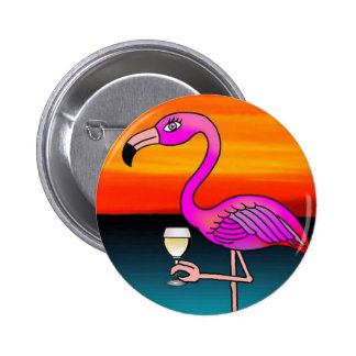 Pink Wine drinking Flamingo 6 Cm Round Badge