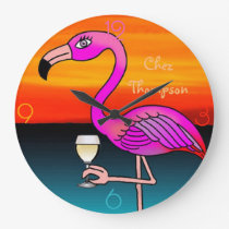Pink Wine drinking Flamingo customised wall clock