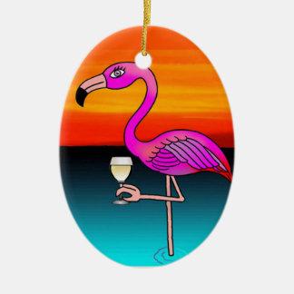 Pink Wine drinking Flamingo customized Ceramic Oval Decoration
