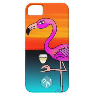 Pink Wine drinking Flamingo Monogrammed Case For The iPhone 5