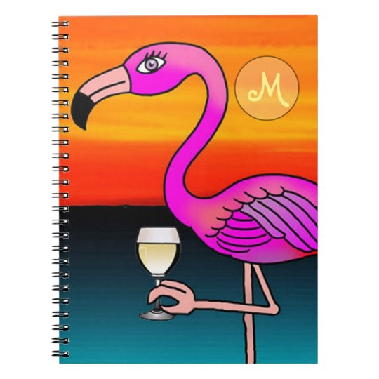 Pink Wine drinking Flamingo Monogrammed Notebooks