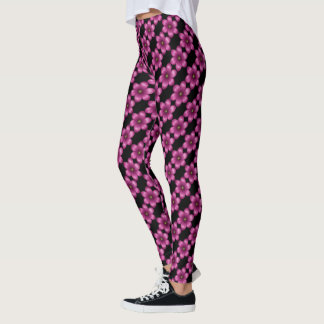 Pink Wine Floral on Black Leggings