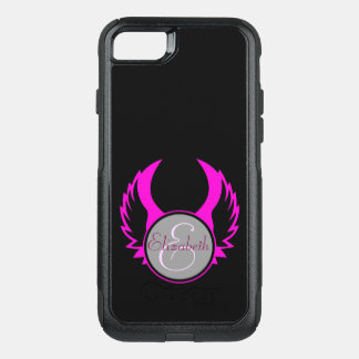 Pink Winged Monogram OtterBox Commuter iPhone 8/7 Case