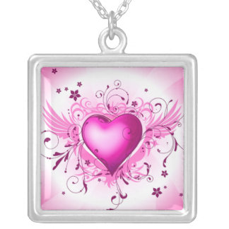 Pink Wings Square Pendant Necklace