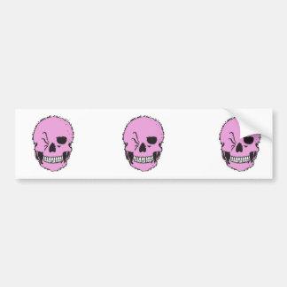 pink winking skull bumper sticker