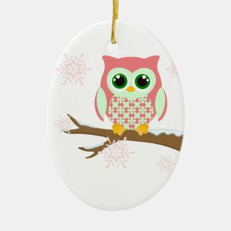 Pink winter owl ceramic oval decoration