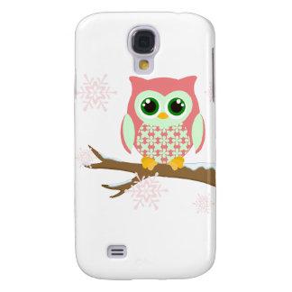 Pink winter owl galaxy s4 case