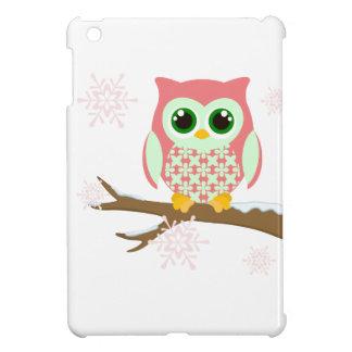 Pink winter owl iPad mini cover