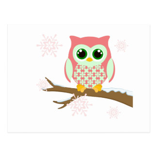 Pink winter owl post card