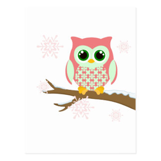 Pink winter owl postcard