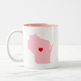 Pink Wisconsin Wedding Anniversary Two-Tone Coffee Mug