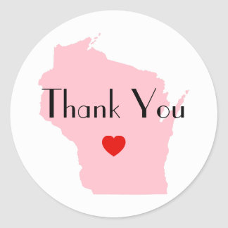 Pink Wisconsin Wedding Thank You Classic Round Sticker