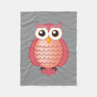 Pink Wise Owl Fleece Blanket