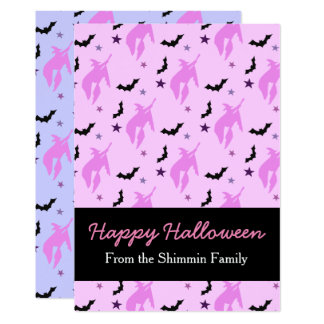 Pink Witch and Bats Girly Halloween Family Card 13 Cm X 18 Cm Invitation Card