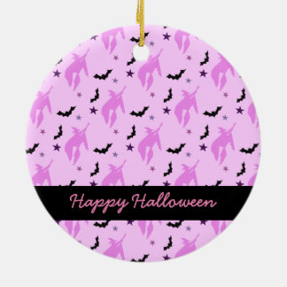 Pink Witch and Bats Girly Halloween Round Ceramic Decoration