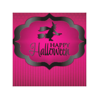 Pink witch Halloween shape Canvas Prints