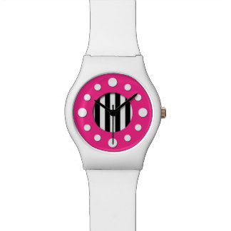 Pink with Black and White Stripes Watch