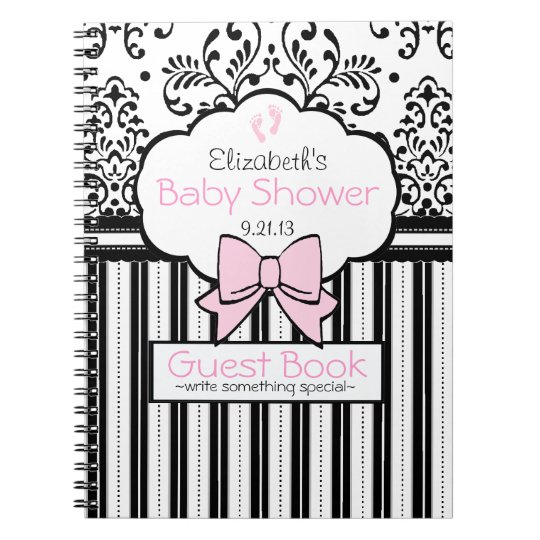 Pink with Black Damask Baby Shower Guest Book- Notebooks