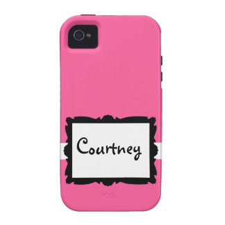 Pink with Black Frame iPhone 4 Case