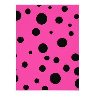 Pink with Black Polka Dots Fashion Fun 14 Cm X 19 Cm Invitation Card
