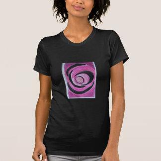 Pink With Black Rings&Circle black T- Shirt women