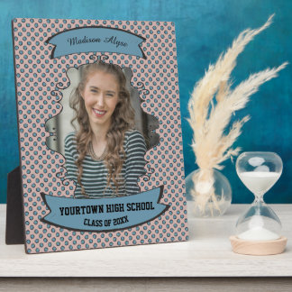 Pink with Blue Polka Dots Photo Graduation Plaque