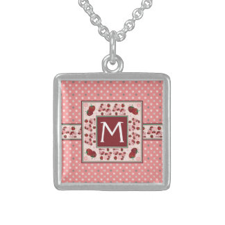 Pink With Cream Dots Pattern With Initial Sterling Silver Necklace