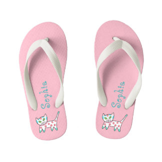 Pink With Doodle Kitty Cat And Name Kid's Flip Flops