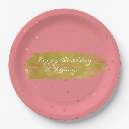 Pink With Gold Dots Custom Party Paper Plates