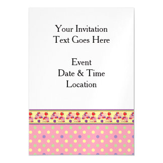 Pink With Green Dots Pattern With Border Magnetic Invitations