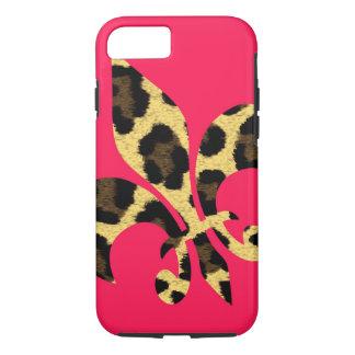 Pink with leopard Fleur de Lis iPhone 7 Case