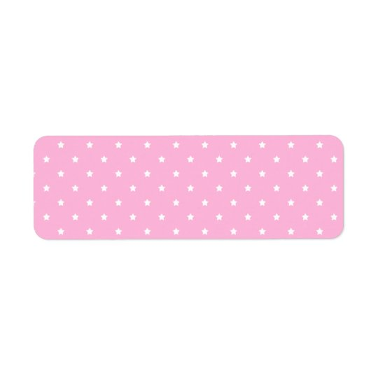 Pink with little white stars. Custom Return Address Label