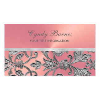 Pink with Silver Damask Business Card