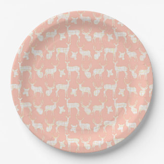 Pink With White Deer Paper Plates