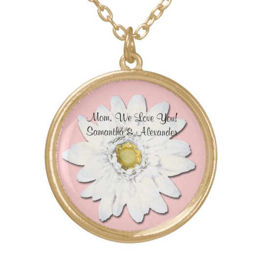 Pink with White Gerbera Daisy Personalised Text Gold Plated Necklace