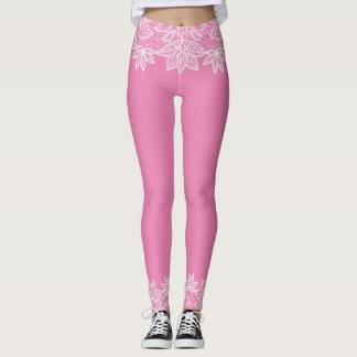 Pink with White Lace Look Spandex Leggings