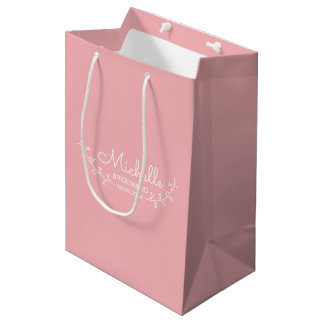 Pink with White Laurels Personalized Bridesmaids Medium Gift Bag