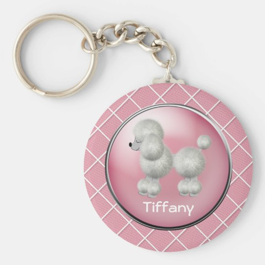 Pink With White Poodle Key Chain