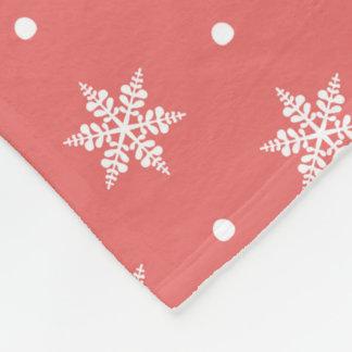 Pink with White Snowflakes Fleece Throw