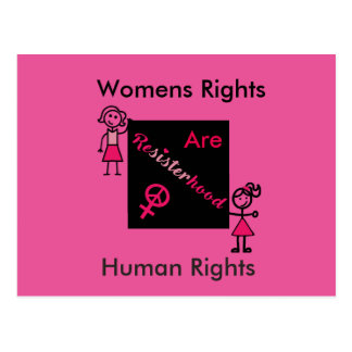 Pink Womens Rights Are Human Rights Political Postcard