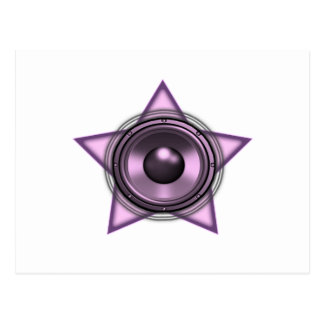 Pink Womens Sub Bass Woofer Star Post Cards